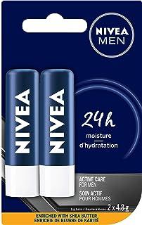 NIVEA MEN Active Care Lip Balm (2 x 4.8g Stick), Quick-Absorbing Dry Lip Balm, Shine-Free Lip Moisturizer with Shea Butte...