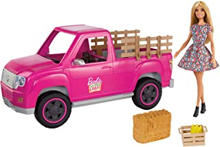Barbie Sweet Orchard Farm Truck & Doll Set, Blonde Barbie Doll & Pink Truck with Working Tailgate, Hay Bale, Crate & Cor...