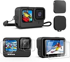 Kupton 10 STKS Accessoires Kit voor GoPro Hero 9 Zwart, Siliconen Mouw Beschermhoes met Lanyard + 6 STKS Gehard Glas Scree...