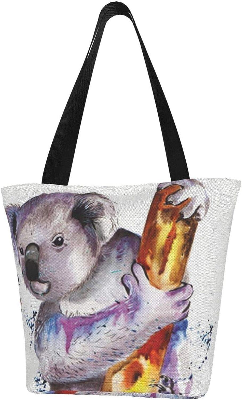 Koala Bears Painting lovely Themed Printed Women Canvas Handbag Zipper Shoulder Bag Work Booksbag Tote Purse Leisure Hobo Bag For Shopping