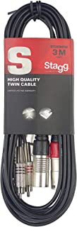 Stagg STC3CMXM Male XLR to Male RCA Twin Cable - 10ft.