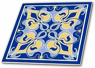 3dRose Single Victorian Art Nouveau Tile Design in Blue and Yellow - Ceramic Tile, 12-Inch (ct_219318_4)