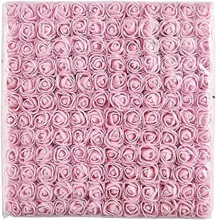 144pcs 2cm Mini Foam Rose Artificial Flower for Home Wedding Decoration DIY Pompom Wreath Decorative Bridal Flower Fake Flower (Light Pink)