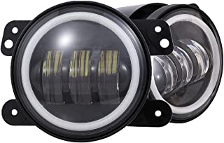 Dot Approved 4 inches Led Fog Lights with Halo Ring for Jeep Wrangler JK Led Fog Lamps Bulb Auto Len Projector with Angle Eye DRL Headlight Driving Offroad Lamp for Jeep Wrangler Dodge Chrysler Front