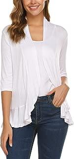 Women's Open Front Cardigan 3/4 Sleeve Draped Ruffles Soft Knit Sweaters