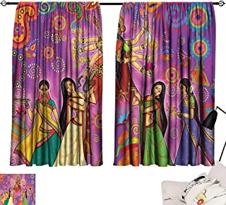 Tankcsard Thermal Insulated Blackout Curtains Bengal,Asian Woman in Colorful Dress Cartoon Style Figures on Paisley and Flower Backdrop,Multicolor 72