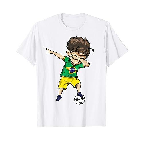 f84a961c5 Dabbing Soccer Boy Brazil Jersey Shirt - Brazilian Football