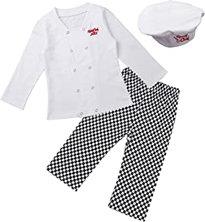 KKmeter Toddler Baby Boys Girls Chef Costume Jackets with Pants Hat Clothing Sets Outfit Baker Cooking Dress up