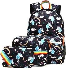 Kemy's Unicorn Backpack for Girls School Bookbag 3 Pieces Cute Inicorn Rainbow Book..