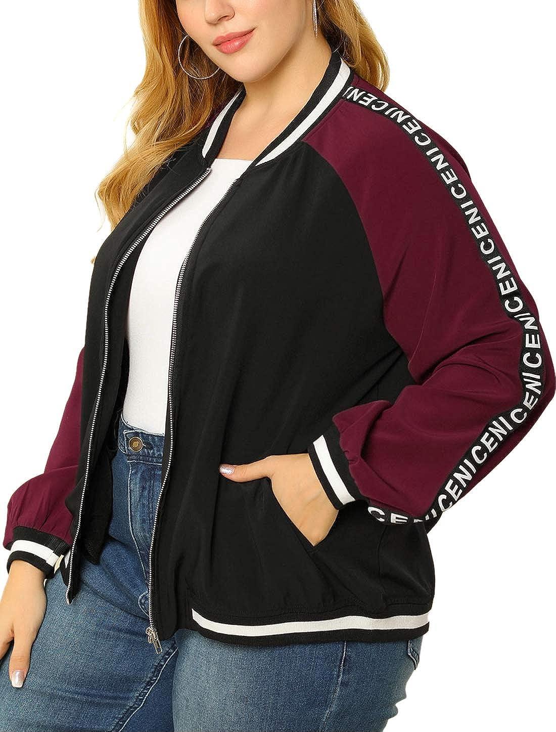 Agnes Orinda Women's Plus Size Lightweight Jackets Color Block Long Sleeve Zip Bomber Jacket Mothers Day