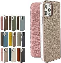 バイカラー本革シュリンクレザーケース iPhone12/12Pro グレー×ピンク