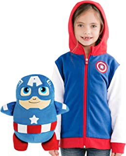 Captain America- 2-in-1 Transforming Hoodie and Soft Plushie- Red and Blue