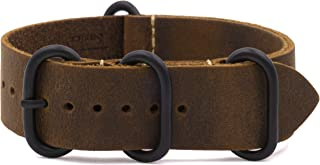 Benchmark Basics Crazy Horse Oiled Leather Zulu Watchband | Black PVD Hardware | 20mm & 22mm | Pull-Up, Rustic Finish (Multiple Colors)