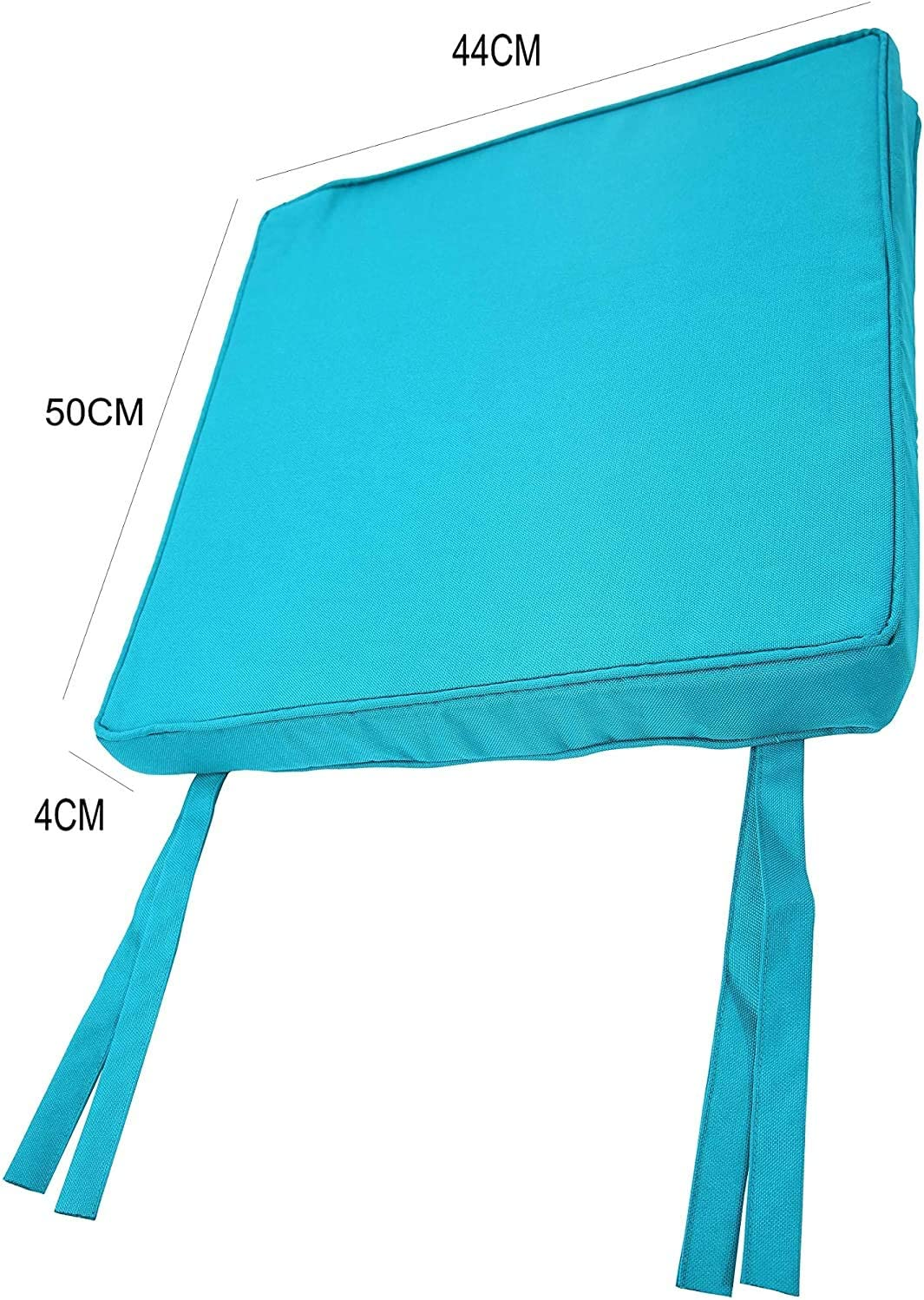Black, 40 x 40 cm BEDWAY Waterproof Outdoor Chair Seat Pad with Tie-on Straps Water Resistant Breathable Fabric For Any Garden Bench Patio Chair