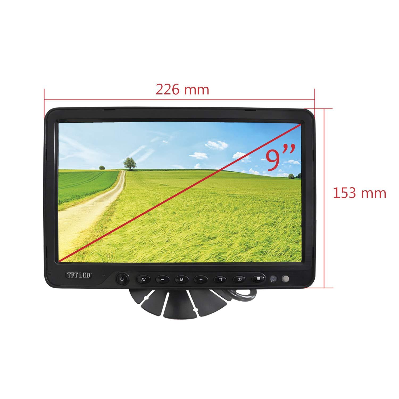 YATEK Monitor Aparcamiento LCD Quad TFT 9