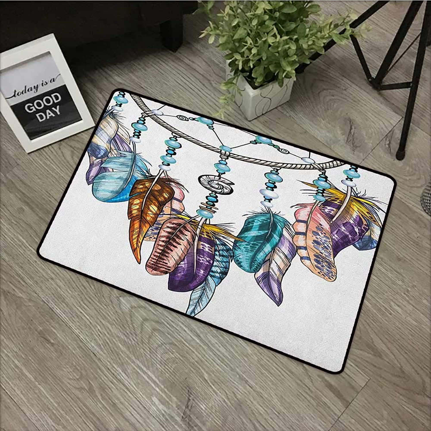 Printed Door mat W31 x L47 INCH Feather,Ornate Dreamcatcher with Feathers and Gemstone Figures Astrology Spiritual Symbol, Multicolor Non-Slip, with Non-Slip Backing,Non-Slip Door Mat Carpet