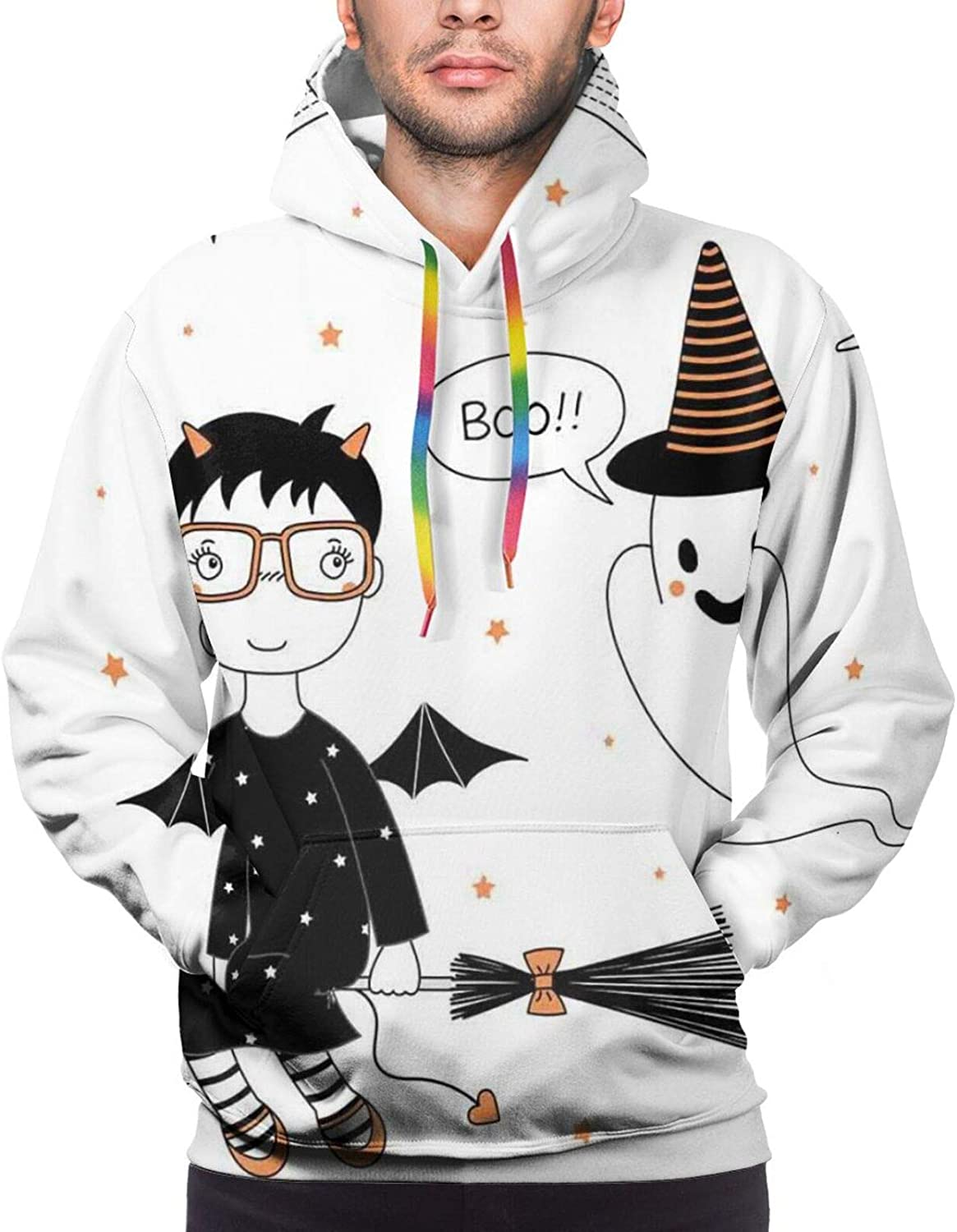 Men's Hoodies Sweatshirts,Cartoon Witch Girl Flying On A Broomstick with A Bat Heart Moon and Stars,Small