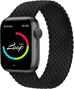 AZKEY Solo Loop Sport Band Compatible with Braided Apple Watch Band 42mm 44mm, Soft Sport Replacement Wrist Band Compatible for iWatch Series 6/5/4/3/2/1/SE Black No.8 42mm