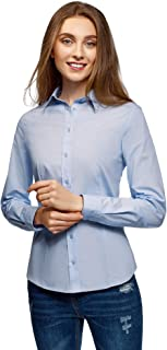 oodji Collection Women's Slim-Fit Cotton Shirt