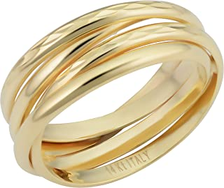 KoolJewelry Minimalist 14k Yellow White or Rose Gold 7.5 mm Diamond-cut Stacked Coil Ring