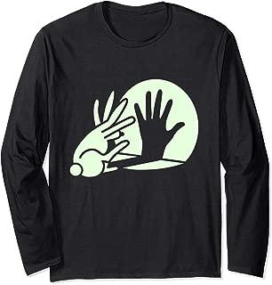 Funny Bunny Hand Shadow Puppet LS T-Shirt Rabbit Humor