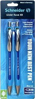 Schneider Slider Rave Retractable Ballpoint Pen, Blue, 2 Pack (132593)