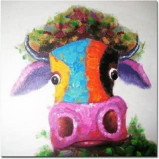 Muzagroo Art Cow Oil Paintings Modern Art Handpainted on Canvas Wall Decor Art (24x24in)