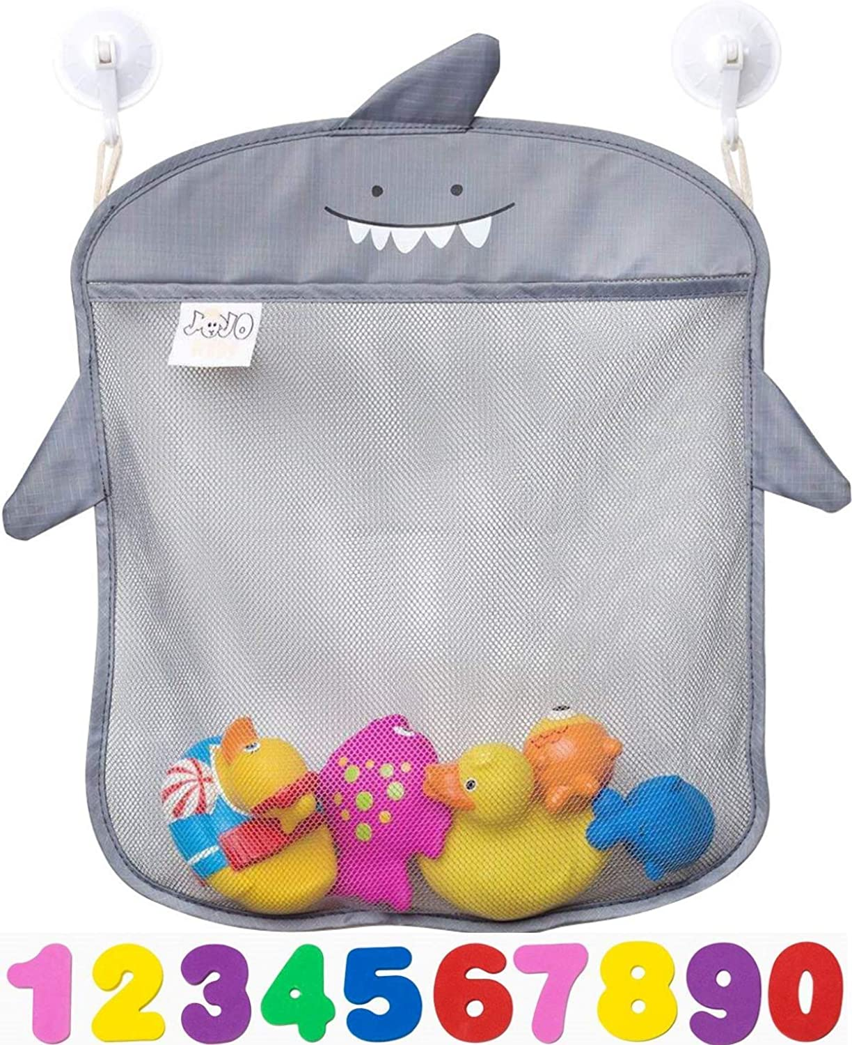Bath Toy Storage by Jojo-KidsKeep Toys Dry without MoldSuperior Quality and Non Toxic Toys Organizer inspired by KidsSet of 2 Large Quick Dry Bathtub Mesh Net with 2x Hanging Hooks 4x Suction Cup