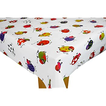 Cow Names on White PVC Tablecloth Vinyl Oilcloth Kitchen Dining Table