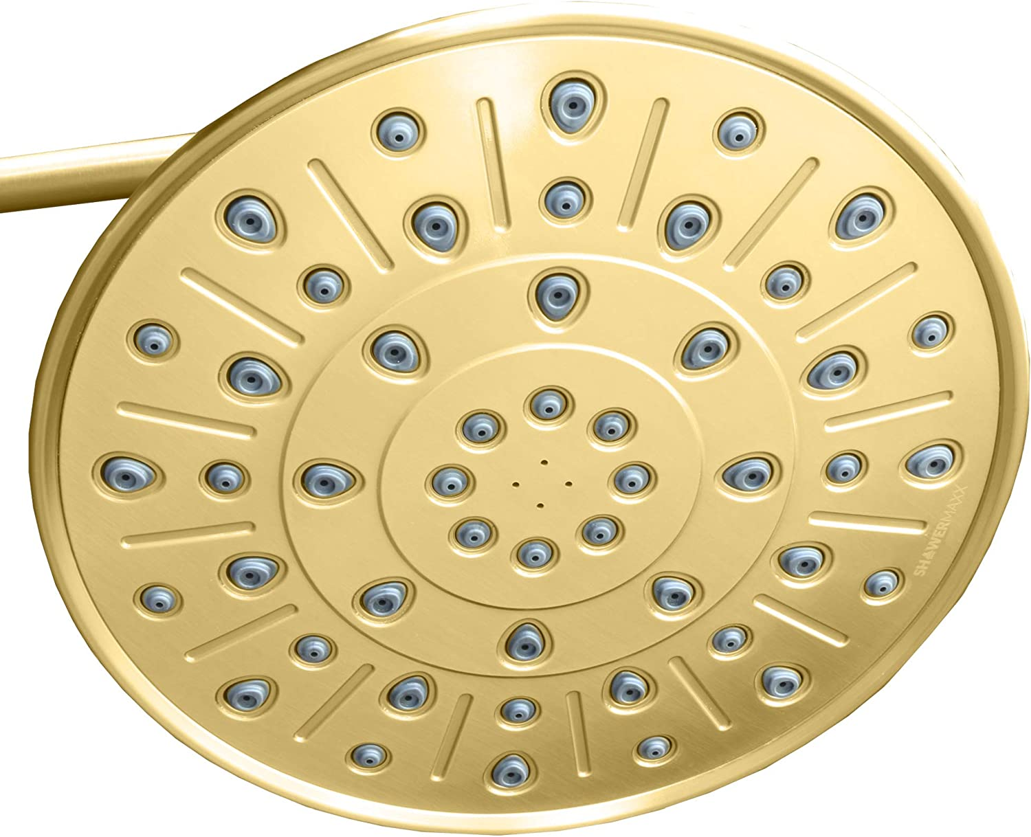 ShowerMaxx   Elite Series   8 inch Round High Pressure Rainfall Shower Head   MAXX-imize Your Rainfall Experience with Easy-to-Remove Flow Restrictor Rain Showerhead   Polished Brass gold Finish
