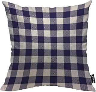 Mugod Buffalo Checker Decorative Throw Pillow Cover Case Checkered Plaid Oblique Stripe Navy Blue Purple White Cotton Linen Pillow Cases Square Standard Cushion Covers for Couch Sofa Bed 18x18 Inch