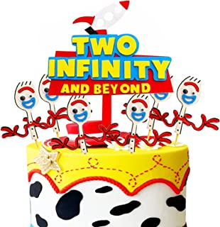 Toy Inspried Cake Topper Two Infinity and Beyond Cake Topper Toy 2nd Birthday Party Decorations Toy Themed Birthday Party ...