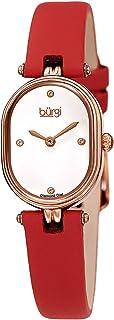 Petite Designer Women's Watch – Satin Over Genuine Calfskin Leather Strap, 4 Genuine Diamond Markers, Glossy Dial, Polished Oval Bezel - BUR229