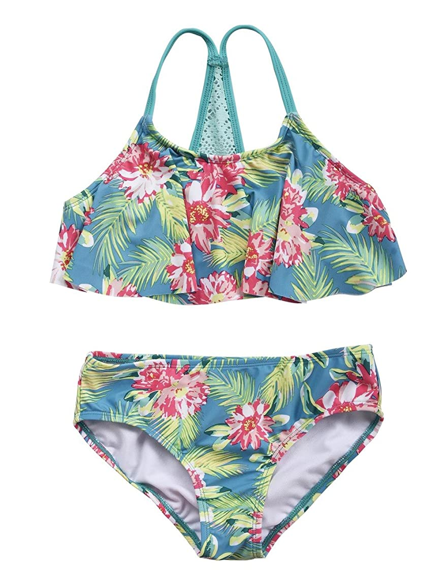 Firpearl Girl's Two Piece Swimsuit Floral Bikini Set Flounce Bathing Suit