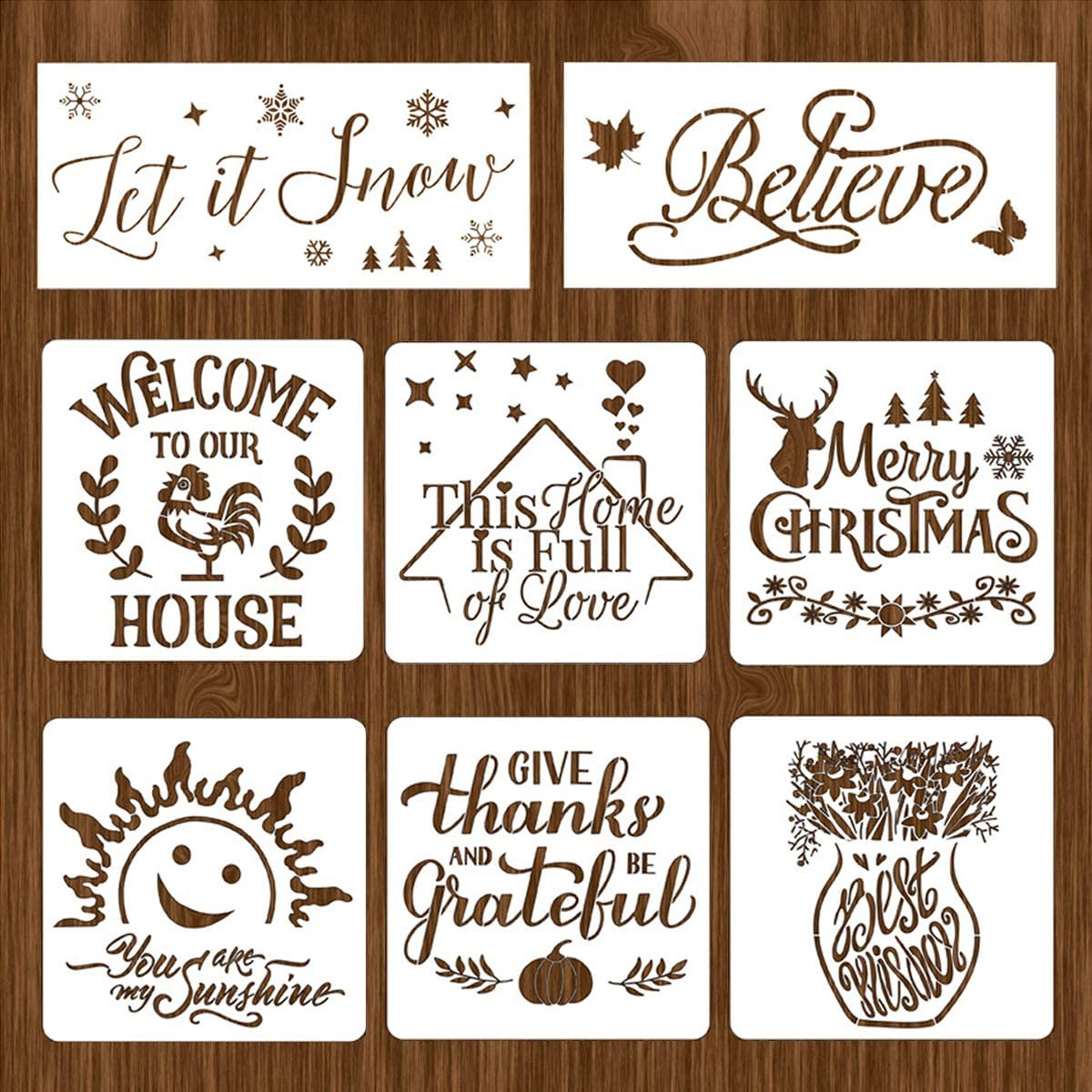 Zeanla Stencils,Reusable Painting Stencils,DIY Art Home Decoration Drawing Templates Christmas Word Letter Stencil for Painting on Wood Wall Fabric Canvas Paper - 8 Pieces