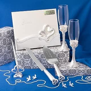 Engraved Wedding Day Interlocking Hearts Wedding Accessory Set: Egraved Cake and Knife Server, Engraved Book, 2 Champagne Flutes, Pen Set