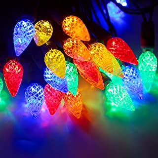 UZEXON 17Ft C6 50 LEDs Multicolor Outdoor Christmas Lights for Home Garden Patio Xmas Tree Festive Decor,Tangle-Free Green Wire,House Party Wedding Halloween Mood Lighting-(Commercial Grade,Steady On)
