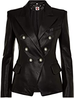 Takitop Cleopatra Black Coat Double-Breasted Blazer Genuine Leather Jacket Women