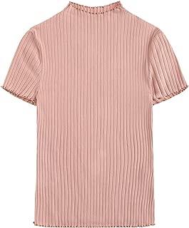 Verdusa Women's Mock Neck Short Sleeve Ribbed Knit Tee Top