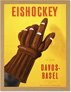 Wee Blue Coo Advertising Ice Hockey Match Basel Davos Sport Glove Switzerland Large Framed Art Print Poster Wall Decor 18x24 inch