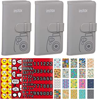 3X Fujifilm instax Mini Series Wallet Album (Smokey White) + Scrapbooking Stickers 4 Sheets of Emojis, Quotes, Letters & Numbers + 20 Sticker Frames for Fuji Instax Travel Package – Deluxe Bundle