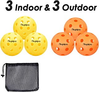 Indoor and Outdoor Pickleball Balls - Professional Pickleball Balls Set of 3 Indoor Pickleballs and 3 Outdoor Pickleballs, Highly Durable, Maximum Bounce Pop and Precise Flight Path - Yellow, Orange