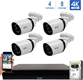 GW 8 Channel 4K H.265+ CCTV DVR Security System with (4) x HD 8MP 2160P Outdoor/Indoor 4K Bullet Security Cameras, 100ft Night Vision, 2TB Hard Drive Pre-Installed