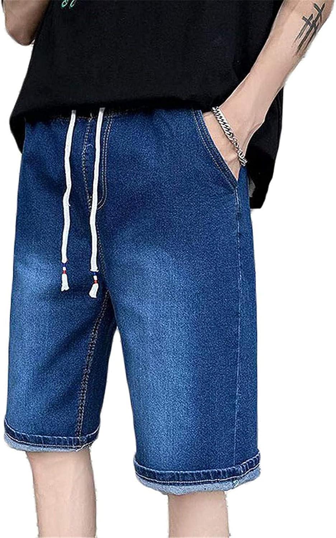 Men's Mid Waist Casual Loose Denim Shorts Slim Thin Straight Leg Short Jeans Pants with Pockets Zip