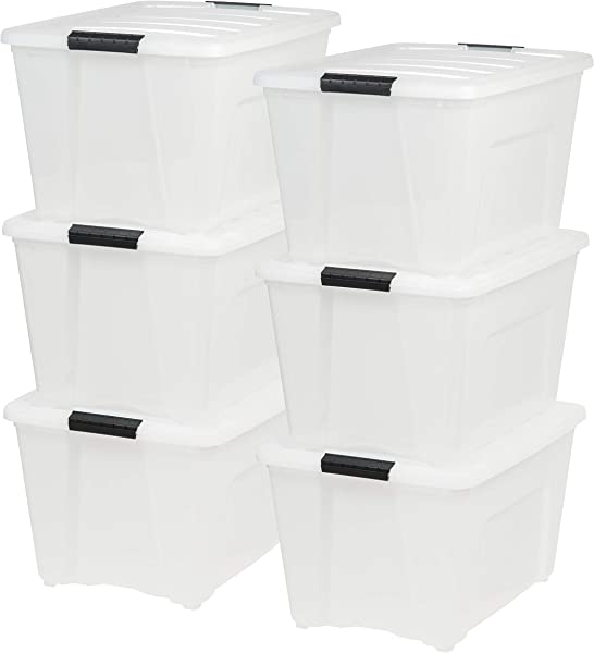 IRIS USA Inc TB 56D 53 Quart Stack Pull Box Multi Purpose Storage Bin 6 Pack Pearl