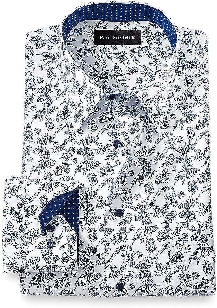 Paul Fredrick Men's Slim Fit Non-Iron Cotton Palm Print Dress Shirt