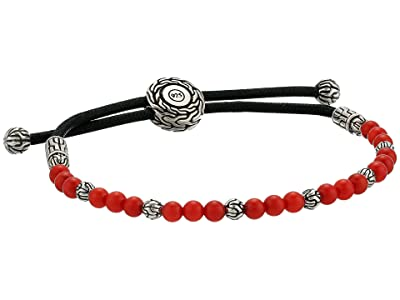 John Hardy Classic Chain Round Beads Pull Through Bracelet on Black Cord w/ Stabilized Red Coral (Silver) Bracelet