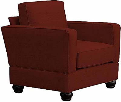 Furniture For Living Rollins Rta Big Chair with Mahogany Legs, Red