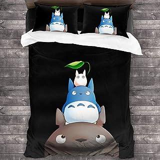 My Neighbor Totoro Bedding Juego de Colcha de 3 Piezas Juego de Funda nórdica Juego de edredón de algodón Premium, edredón Estampado, Funda con Cierre de Cremallera C604