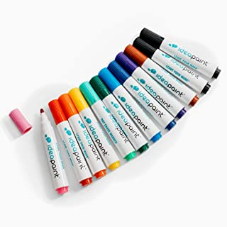 IdeaPaint Write Dry Erase Markers 12 Pack Low Odor Non-Toxic, Multi-Colors Assorted with Tray   2 Black, 1 Brown, Purple, Dark Blue, Light Blue, Dark Green, Light Green, Yellow, Orange, Red, and Pink